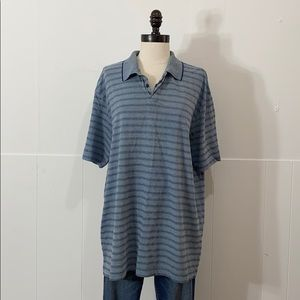 Oversized Blue Striped Polo